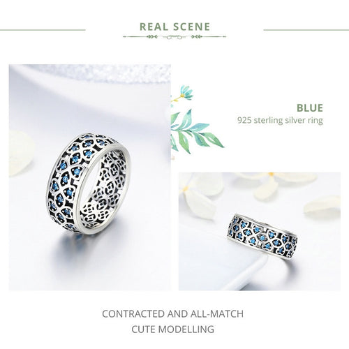 Women's 925 Sterling Silver Blue Crystal Ring