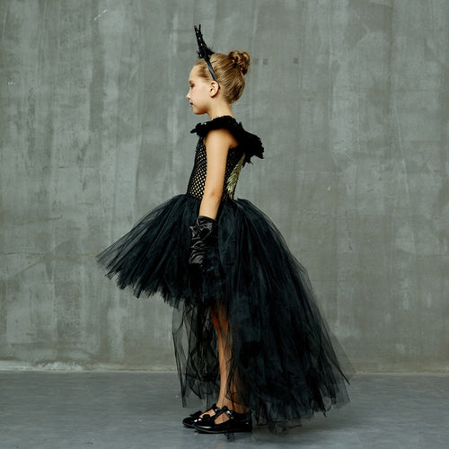 Girl's Witch Costume Sleeveless Dress with Headband Feathers Gloves and Wings