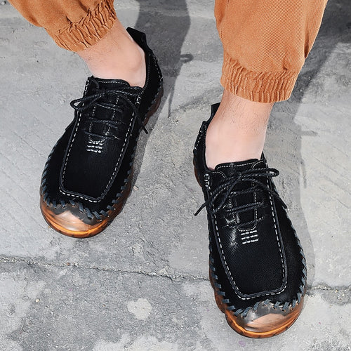 Men's Split Leather Lace Up Casual Loafers Shoes with Rubber Cap Toe