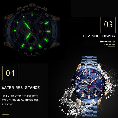 Men's Stainless Steel 3 ATM Waterproof Hardlex Chronograph Quartz Watch with Luminous Hands