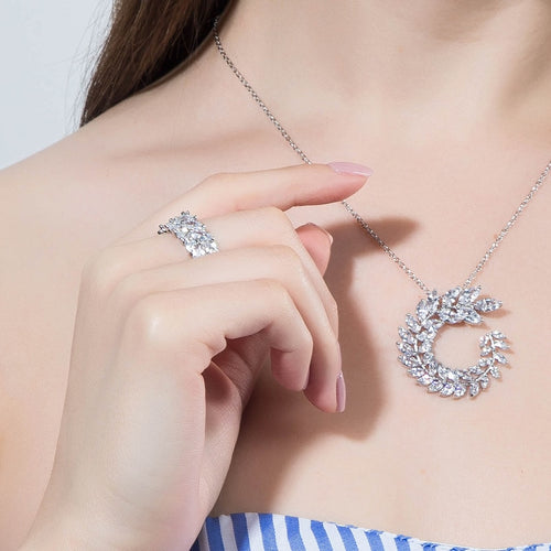 Women's Leaf Shaped Bridal Jewelry Set with Earrings Ring and Matching Pendant Necklace