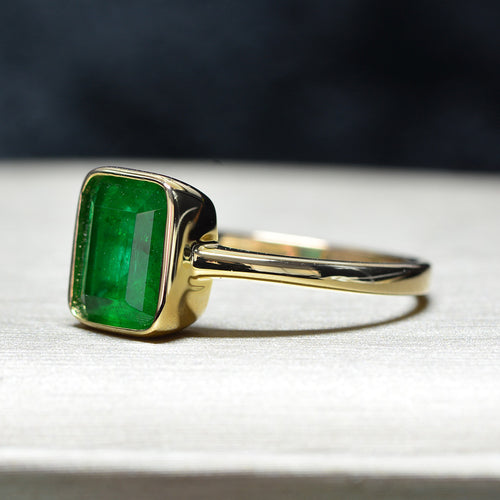 Women's Gold Color 925 Sterling Silver Emerald Ring