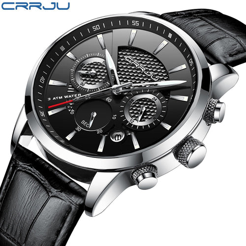 CRRJU 30M Waterproof Chronograph Quartz Wrist Watches 3