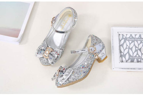 Girls' PU Leather Sparkling Low Heel Shoes with Bow Decoration