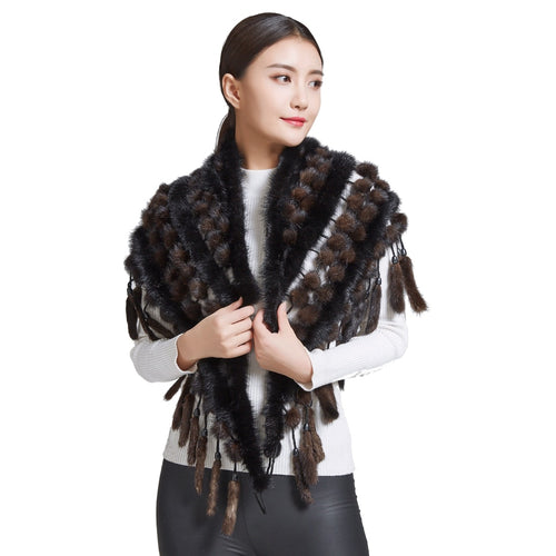 Women's Natural Mink Fur Triangle Pashmina Scarf with Tassel