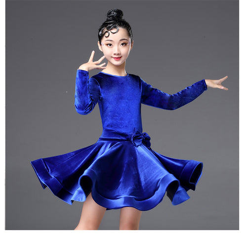 Girls' Long Sleeve Stage Performance Ballroom Dance Velvet Dress