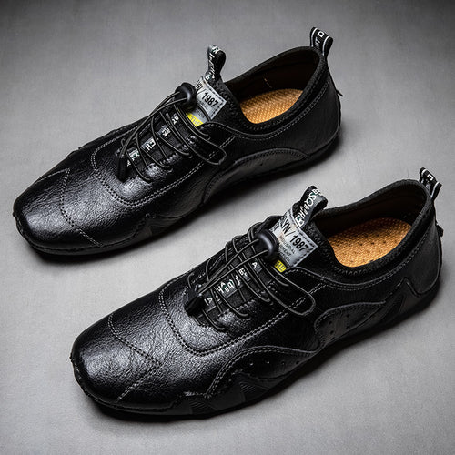 Men's Split Leather Lace Up Casual Sneakers Shoes