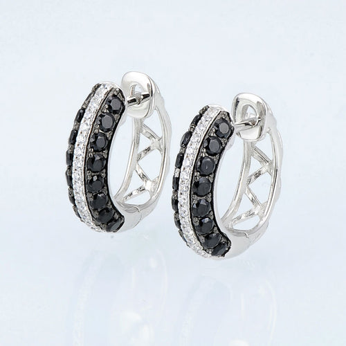Women's 925 Sterling Silver Black White Crystal Jewelry Set with Earrings and Matching Ring