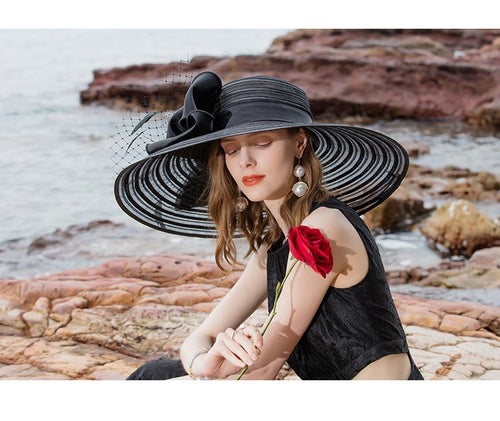 Women's Wide Brim Hat Formal Church Wedding Headpiece with Bow Knot Decoration