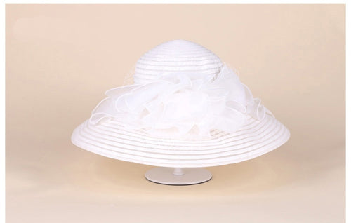 Women's Wide Brim Organza Church Hat with Flower Decoration