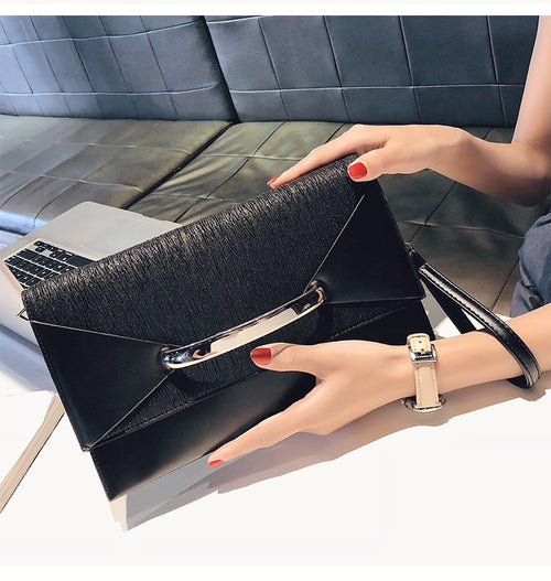 Women's PU Leather Envelope Clutch Bag