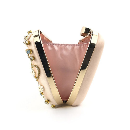 Women's Satin Crystal Clutch Crossbody Bag with Chain
