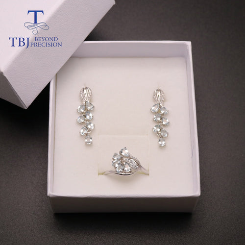 Women's 925 Sterling Silver Natural Aquamarine Jewelry Set with Finger Ring and Drop Earrings