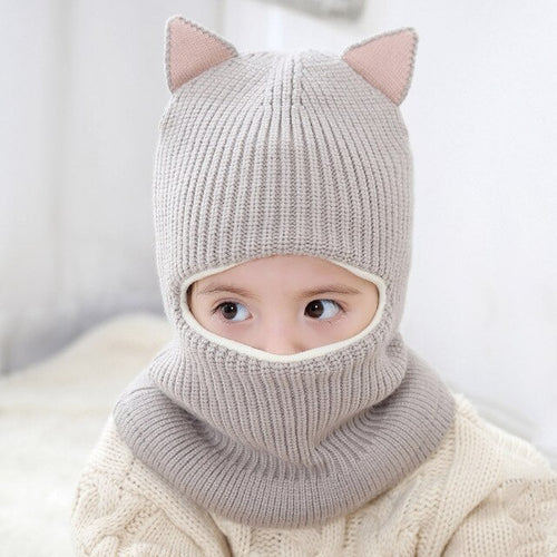 Girls' Boys' Knitted Animal Ear Balaclava Hat Ski Mask
