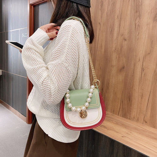 Women's PU Leather Contrast Color Shoulder Crossbody Satchel Bag with Pearl Handler