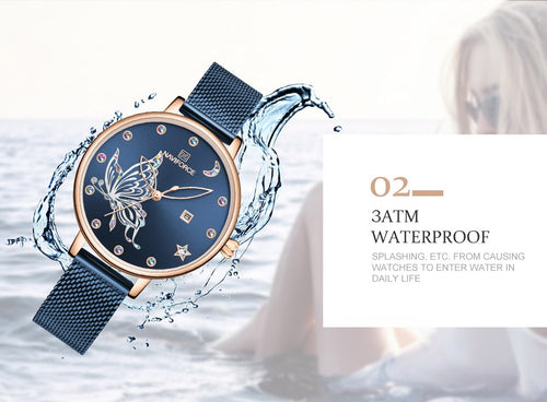 Women's Stainless Steel 3 ATM Waterproof Butterfly Quartz Watch with Auto Date