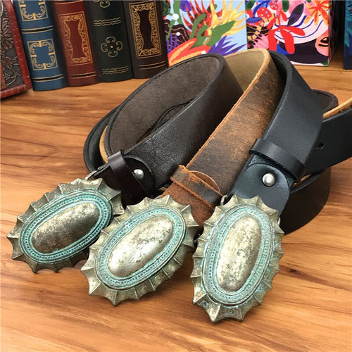 Men's Genuine Cowskin Leather Belt with Vintage Alloy Buckle