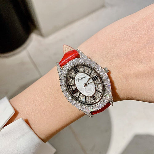 Women's Water Resistant Rhinestone Diamond Quartz Watch with Genuine Leather Band