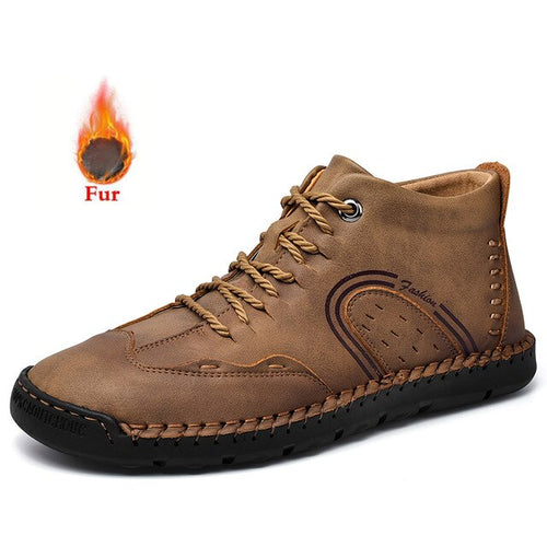 Men's Genuine Leather Fur Lined Round Toe Ankle Boots