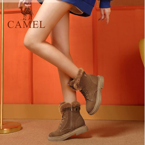 Women's Genuine Leather Cow Suede Natural Fur Ankle Snow Boots