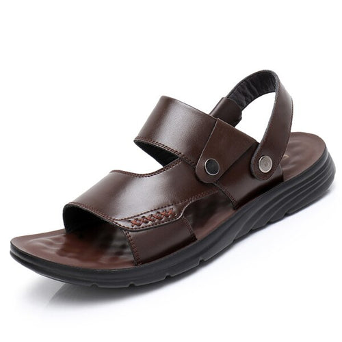 Men's Genuine Leather Open Toe Ankle Strap Sandals
