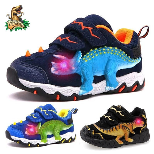Boys' Genuine Leather Suede LED Glowing Dinosaur Sneakers with Hook and Loop Closure