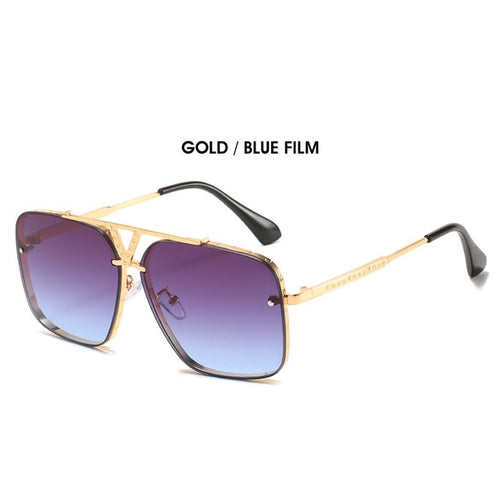 Men's Semi Rimless Oversized Aviator Sunglasses UV400