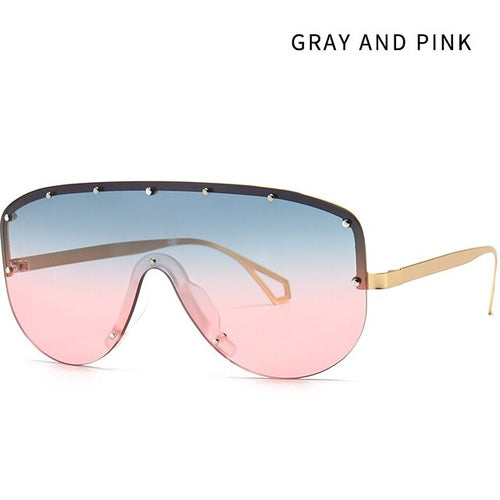 Women's Men's Semi Rimless Integrated Oversized Shield Sunglasses UV400