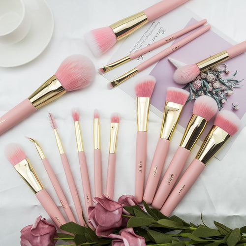 Beili 15pcs Makeup Brushes Set Matte Highlight Foundation Powder Eye Shadow