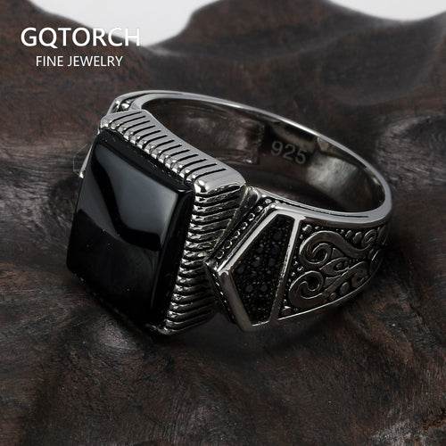 Silver S925 Men's Ring with Square Stone
