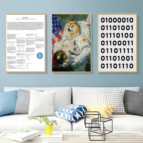 Doge US Astronaut Cryptocurrency Decorative Poster