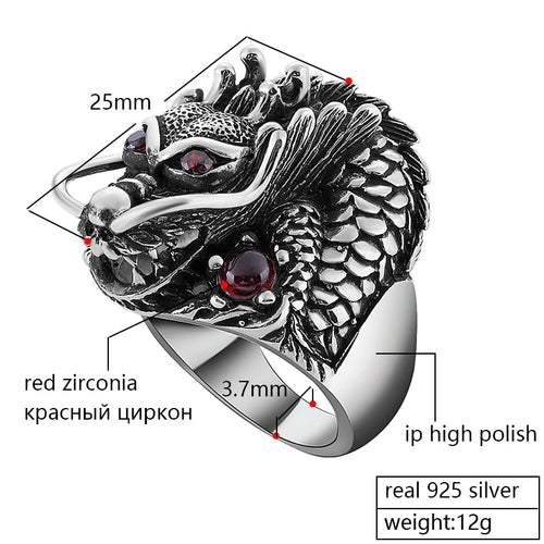 Zabra Solid 925 Sterling Silver Dragon Red Zircon Eye Domineering Men Ring