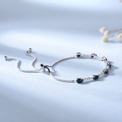 Women's 925 Sterling Silver and Natural Blue Sapphire Bracelet