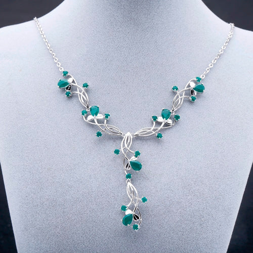 Women's 925 Sterling Silver and Natural Green Agate Bridal Pendant Necklace