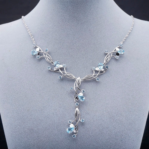Women's 925 Sterling Silver and Natural Sky Blue Topaz Bridal Pendant Necklace