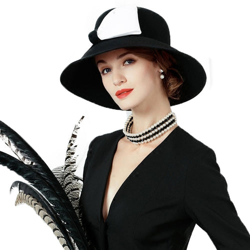 Women's Wool Felt Wide Brim Formal Hat for Church