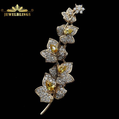 Cubic Zirconia Vine Plant Branch and Flowers Brooch