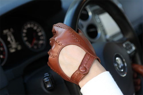 Men's Sheepskin Genuine Leather Motorcycle Driving Gloves