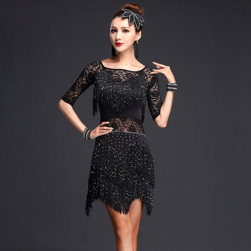 Women's Ballroom Dance Competition Sequined Half Sleeve Fringe Dress and Undershorts Set
