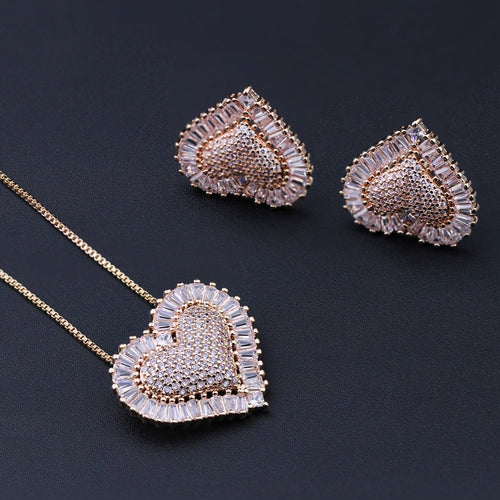 Women's Heart Shaped Jewelry Set with Stud Earrings and Matching Pendant Necklace