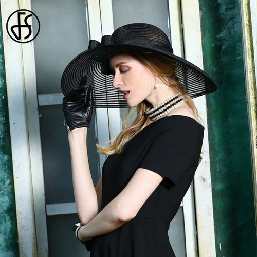 Women's Linen Wide Brim Fedora Bowknot Formal Headpiece Hat for Church Wedding