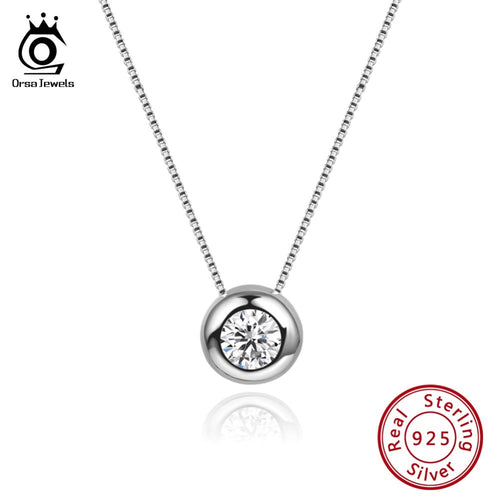 Women's 925 Sterling Silver Zircon Crystal Pendant Necklace