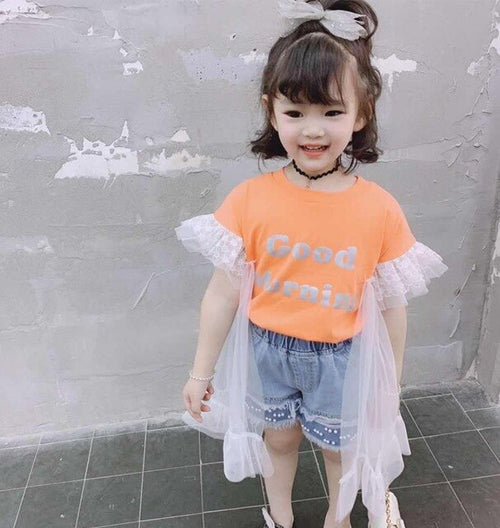 Girls T-Shirt with Short Lace Sleeves Patchwork and Letter Print