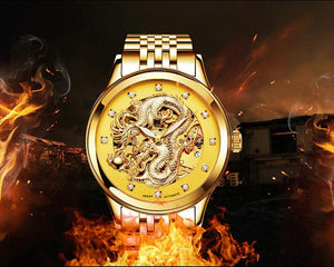 2020 AESOP - Luxury Golden Dragon Men's Golden Automatic Mechanical Wristwatch