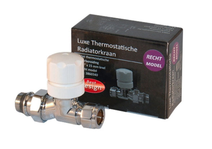 Best-Design luxe Thermostatische radiatorkraan recht  1/2x15mm