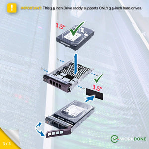 WORKDONE 3.5-inch Drive Carrier F238F for Dell PowerEdge Servers