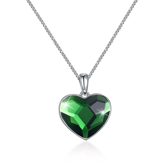 Heart-Shaped Green Necklace with Crystal/Platinum Plated