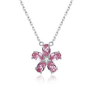 Sterling Silver Crystal Petal Necklace Pink/Platinum Plated