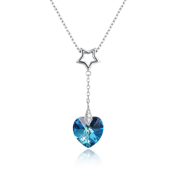 S925 Sterling Silver Heart-Shaped Crystal Pendant Necklace