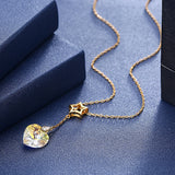 S925 Sterling Silver Heart-Shaped Crystal Pendant Necklace in Gold/Gold-Plated